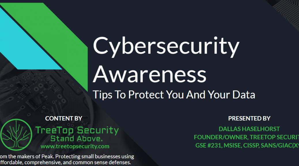 Slide deck for cybersecurity awareness training