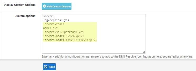 DNS over TLS pfSense