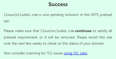 HSTS Preload Success