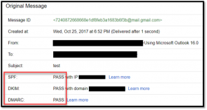 Gmail showing spf, dkim, and dmarc settings