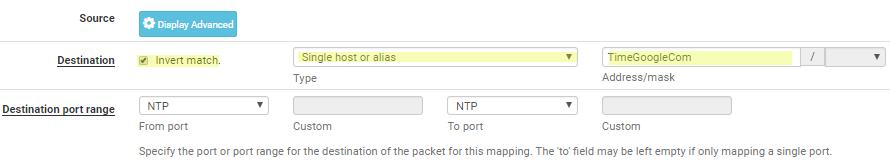 NTP NAT pfSense invert match