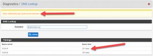pfSense DNS lookup via web gui