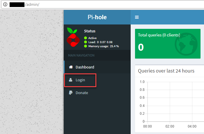 pi-hole first login