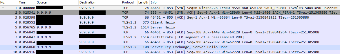 Wireshark - Quad9 DNS over TLS transaction