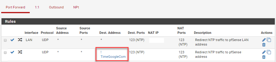 pfSense separate NAT NTP rule