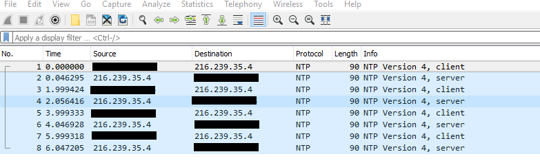 Wireshark NTP traffic